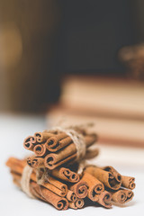 Stack of cinnamon with blurred background