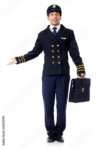 Young pilot isolated on the white
