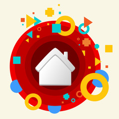 House on abstract colorful made from circles background with dif