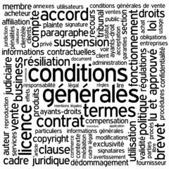"""Nuage de Tags """"CONDITIONS GENERALES"""" (vente utilisation contrat)"""