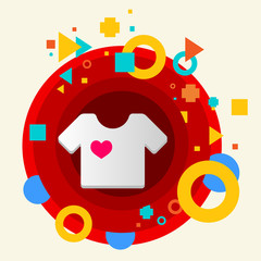 T shirt on abstract colorful made from circles background with d