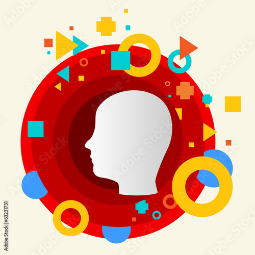 Human head on abstract colorful made from circles background wit