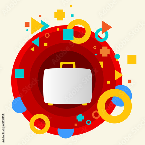Suitcase on abstract colorful made from circles background with