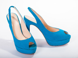Blue high-heeled shoes