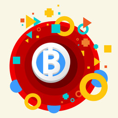 Bit coin on abstract colorful made from circles background with