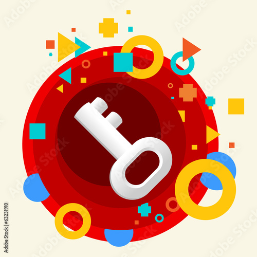 Key on abstract colorful made from circles background with diffe
