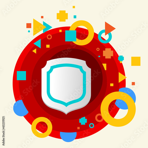 Shield on abstract colorful made from circles background with di