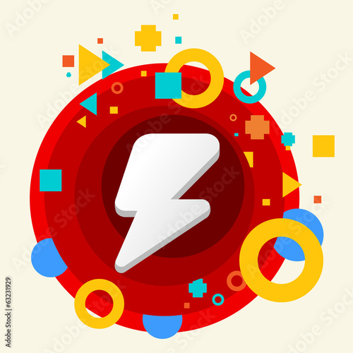 Lightning on abstract colorful made from circles background with