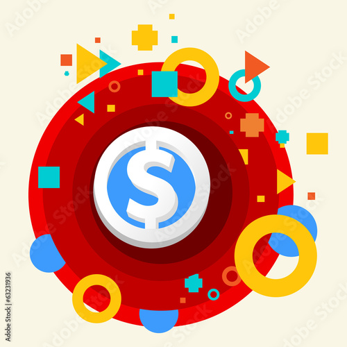 Dollar on abstract colorful made from circles background with di