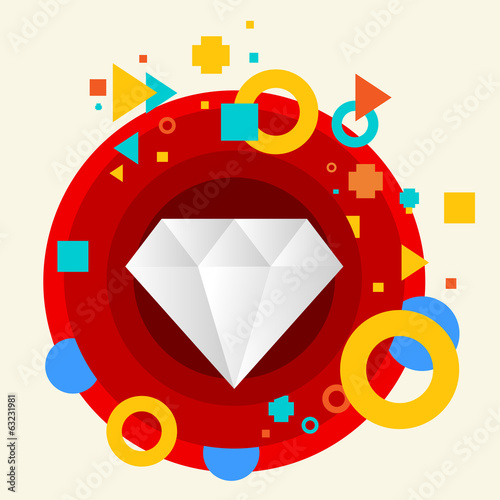 Diamond on abstract colorful made from circles background with d