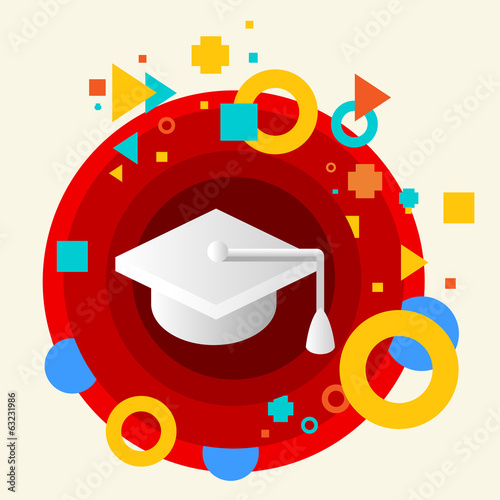 Academic hat on abstract colorful made from circles background w