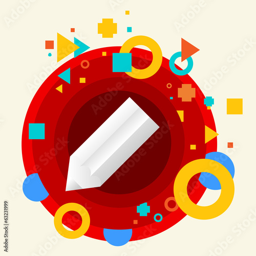 Pencil on abstract colorful made from circles background with di