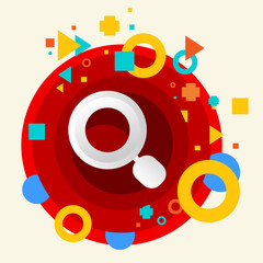 Magnifier on abstract colorful made from circles background with
