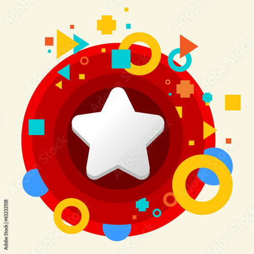 Star on abstract colorful made from circles background with diff