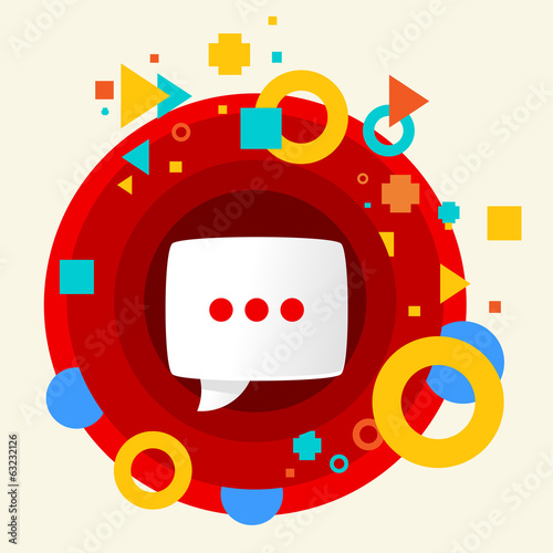 Speech bubble on abstract colorful made from circles background