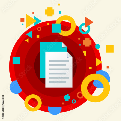 Document file on abstract colorful made from circles background