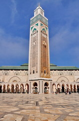 The Hassan II Mosque, located in Casablanca is the largest mosqu