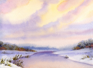 Watercolor winter landscape. Evening sky over river