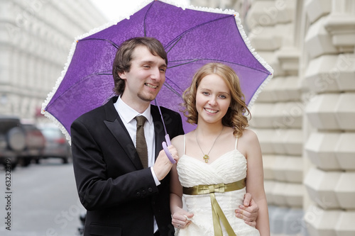 Happy bride and groom together