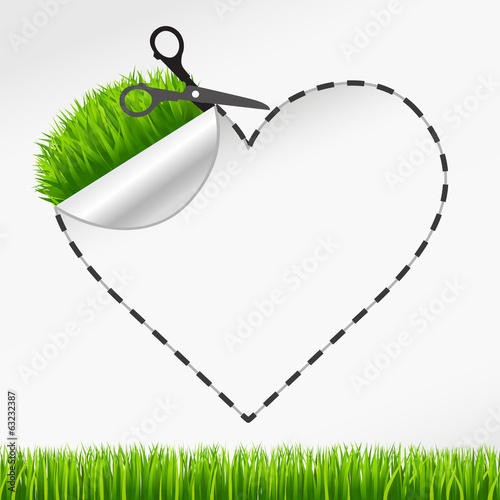 scissors cut heart sticker. Green grass