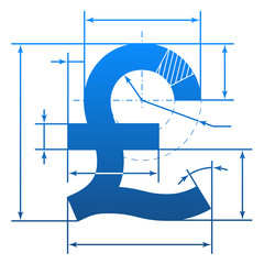 Pound sterling symbol with dimension lines for blueprint drawing