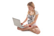 Girl with laptop doing yoga
