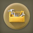 Wooden toolbox, long shadow vector icon