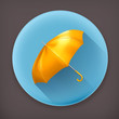 Yellow umbrella, long shadow vector icon