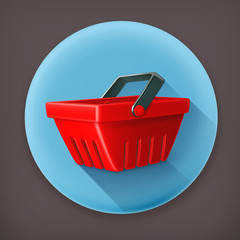 Red shopping basket, long shadow vector icon