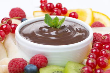 chocolate sauce and fresh fruit