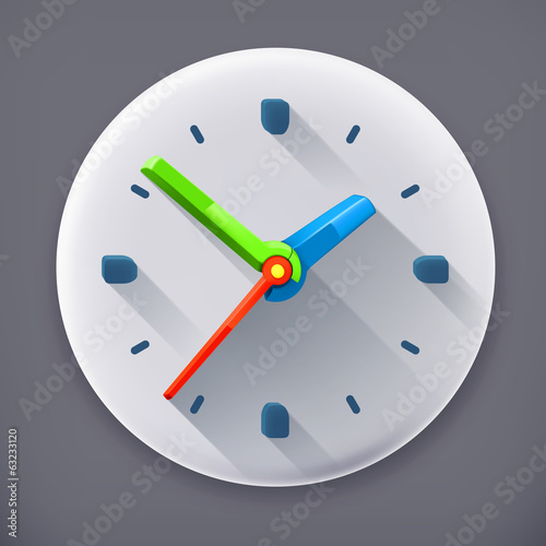 Clock, long shadow vector icon