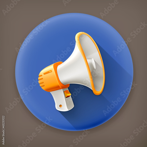 Megaphone, long shadow vector icon