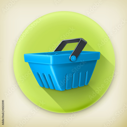 Shopping basket, long shadow vector icon