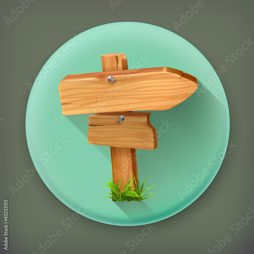 Wooden sign, long shadow vector icon