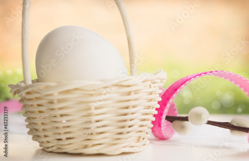 White aster egg in basket