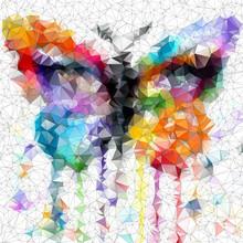 papillon lumineux multicolore fond abstrait géométrique