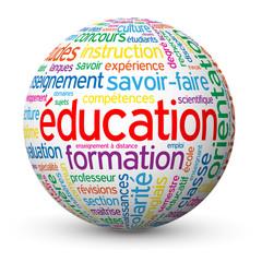 """Globe - Nuage de Tags """"EDUCATION"""" (formation études diplômes)"""