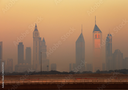 Dubai skyline as seen from Business Bay shot just before dawn