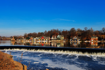 The famed Philadelphia's boathouse row in Fairmount Dam Fishway