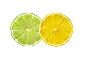 Lemon and lime slices isolated on white