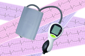 Electronic medical tonometer on heart analysis, electrocardiogra