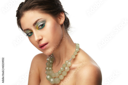 beauty portrait in green colors