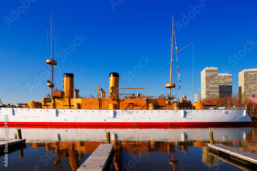 The protected cruiser USS Olympia, in Philadelphia