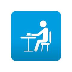 Etiqueta tipo app azul simbolo cafeteria