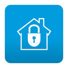 Etiqueta tipo app azul simbolo seguridad en el hogar