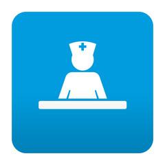 Etiqueta tipo app azul simbolo enfermeria