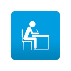 Etiqueta tipo app azul simbolo estudiante