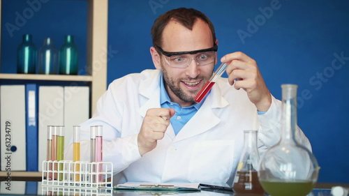 Scientist making great discovery in laboratory