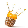 splash of pineapple juice isolated on white background