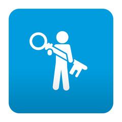 Etiqueta tipo app azul simbolo usuario seguro